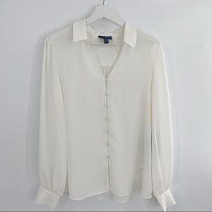 ModCloth white button down blouse flowy NWT